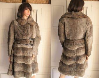 Vintage 80s French grey brown rabbit Fur Coat Luxury grey brown fur coat Mottled greyish brown coney fur coat Real grey brown fur coat Small