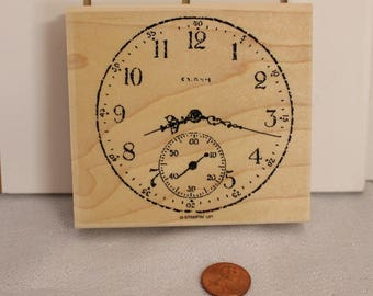 Large Clock Rubber Stamp by Stampin Up, Art Journal, Wood Stamp for Scrapbooking or Card Making