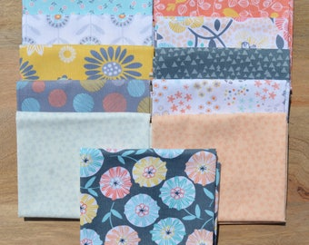 Lily Modern Geometric Fat Quarter Bundle from Timeless Treasures Peach, Yellow, Aqua, White, Grey, 100% Cotton - 11 fat quarters