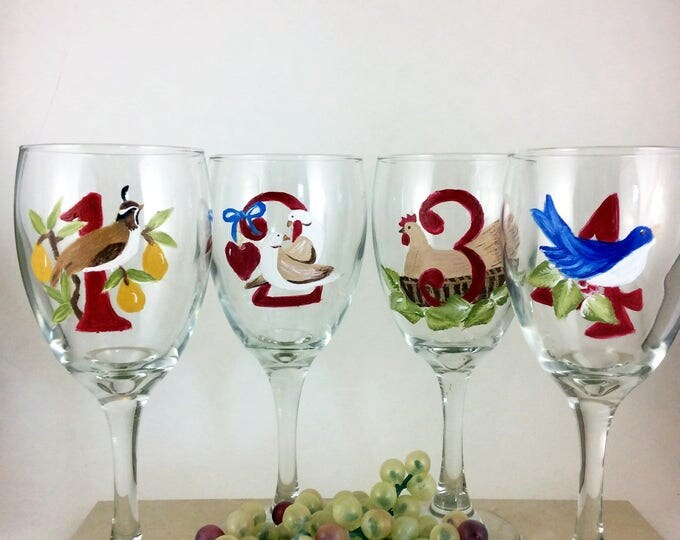 12 days of Christmas, Set of wine glasses, wine glasses, Holiday wine glasses, 12 wine glasses, Specialty wine glass, hand painted glasses