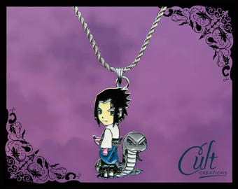 Naruto sterling silver / faux leather necklace with Sasuke charm