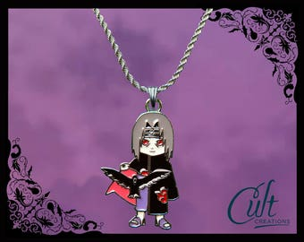 Naruto sterling silver / faux leather necklace with Itachi charm