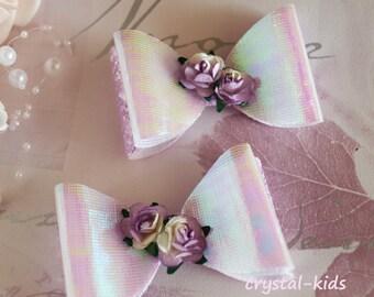 Stunning Girls Lilac Shiny Glitter Flower Hair Clip Hair Bow Elastic Headbands Various Sizes