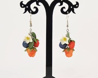 Berries Earrings with flowers - Polymer clay jewelry - Handmade jewellety - Fruit - Cloudberries, Strawberries, Blueberries