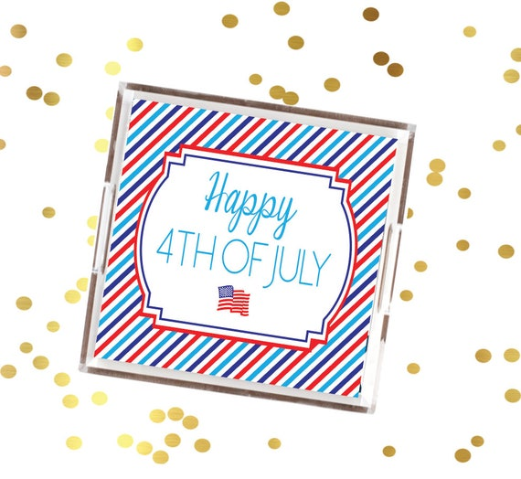 4th of July tray, red white and blue serving tray, July 4th decorative tray, patriotic striped serving tray, fourth of July cookout tray