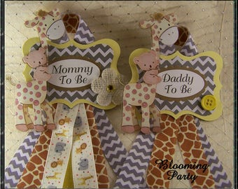 Set of Safari Mommy To Be and Daddy To Be Baby Shower Corsage Safari Corsage Giraffe Mommy To Be Badge