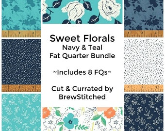 NEW! Navy & Teal Floral Fat Quarter Bundle - Cotton Fabric by the Yard - Fat Quarter - Sweet Florals - Quilting Fabric -Includes 8 FQs