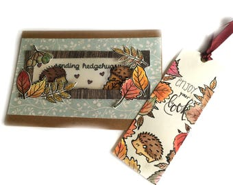 Automne décoration, thanksgiving card, gift card, bookmark, handmade card, magic slider card, hedgehogs, birthday card, customized gift
