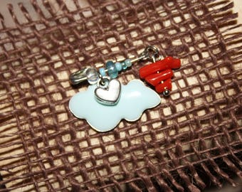 """Brooch """"coral lucky"""" baby blue cloud"""