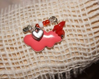 "Brooch ""lucky"" baby girl coral"