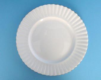Set of 12, Royal Albert England White ValD'or Bone China Dinner Plates