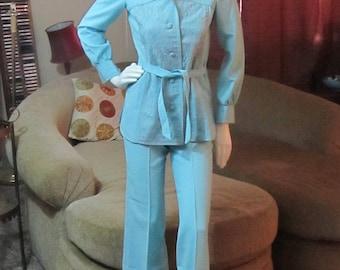 1940's Women's Work Pants Suit Baby Blue Fashion Bar Size 8