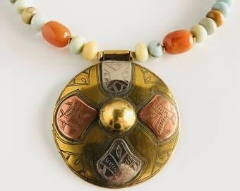 Africa Inspired Genuine Amazonite Brass Pendant Statement Necklace