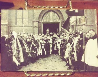 Vintage Funeral Real Photograph Postcard, Eastern Europe
