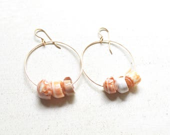 Puka Shell Hoop Earrings, Gold Hoop Earrings with Puka Shells, Puka Shell Earrings Gold, Beachy Earrings