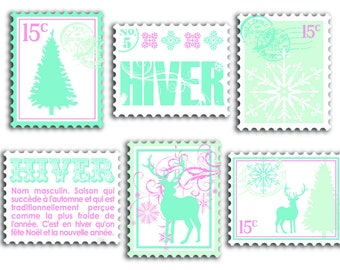 Wooden decorated - winter Collection powder stamps embellishments