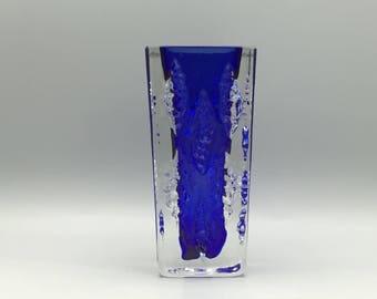 Vintage Ingrid Glasshütte / Ingridglas blue clear Glass Vase 1970s  West Germany