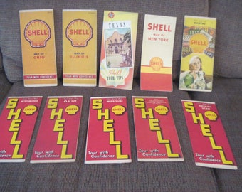 Shell Oil Company Road Maps 9 Vintage Map Lot From 1930's and 40's. Old Maps for Crafts, Scrapbooking Collector Maps.