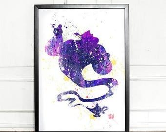 SALE - 25% OFF - Genie Print, Aladdin print, watercolor, giclee art print, Disney inspired, Aladdin Nursery Decor