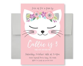 Cat Birthday Party Invitation, Kitten, Cat Birthday Girl Printable Invitation, Are you kitten me, Girl 3rd Birthday, Kitty Party