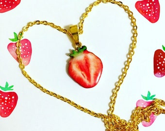 Strawberry Pendant necklace, Fruit necklace, Sweet Food Necklace - Kawaii - Food Jewelry, Valentine's day gift, Passionate Fruit gift