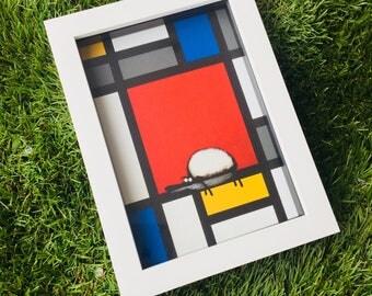 Art For Ewe - 3D White Box Framed Quirky Sheep ART Print