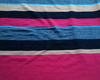 striped jersey black blue red beige striped fabric