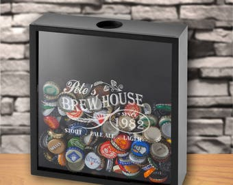 Personalized Beer Bottle Cap Display Shadow Box - Engraved Shadow Box -  Husband Gifts - Gifts for Him - Groomsmen- Beer Gift - GC1616