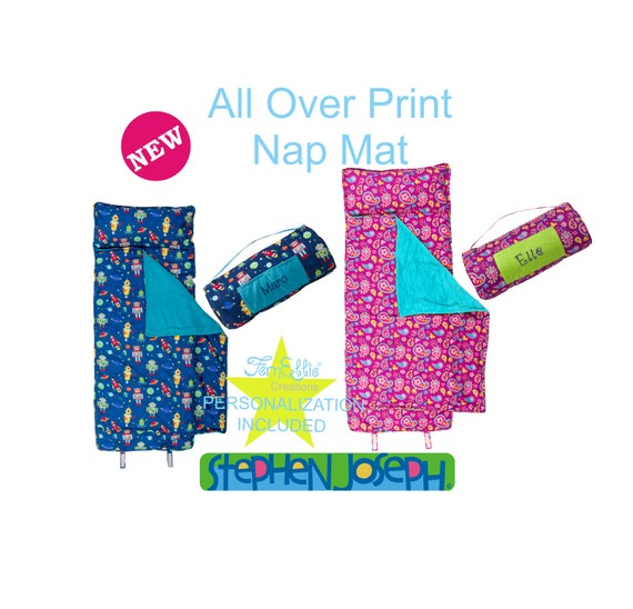 NEW DESIGNS Stephen Joseph All Over Print Personalized Nap Mats, Boys and Girls, Robot and Paisley Sleeping Bag.