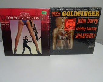 """007 James Bond """"For Your Eyes Only"""" & """"Goldfinger"""" Motion Picture Soundtracks Vintage 1981 and 1964 Vinyl LP  - Free Shipping"""