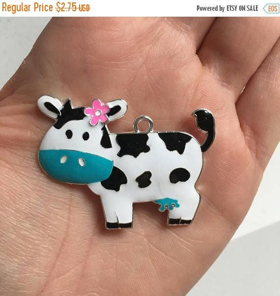 MEMORIAL SALE P135 Cow with Turquoise Bow Rhinestone Pendant
