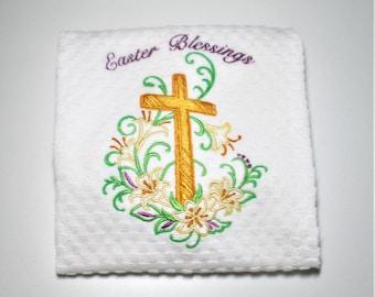 "Easter Kitchen Towel, Easter Gift, Easter Decor, Dish Towel, Religious Gift, Church Member, Hostess, Birthday, Spring, Lily, Cross   ""Bless"""