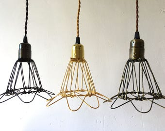 Wire lampshade etsy vintage industrial metal wire cage hanging lamp shade pendant light chandelier greentooth Images