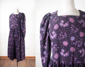 Sunflower Dress, 90s Dress, Goth Dress, Laura Ashley 80s Dress, Medieval Dress, Bohemian Clothing, Soft Grunge Dress, Renaissance Dress