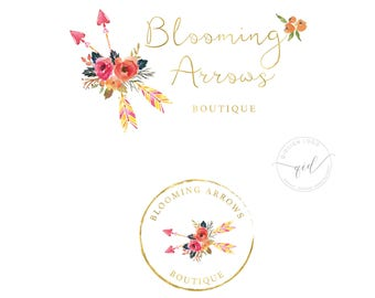 Mini Branding Kit Logo Package for Small Business, Logo with Arrow and Watercolor Flower, Great for Social Media Images and Blog Header