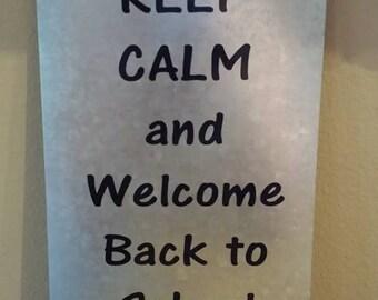 Rustic Metal Back School Teacher Sign