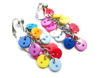 Multi-Color Button Dangle Clip On Earrings - Non-Pierced Ears