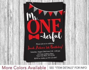 Mr. ONEderful Birthday Invitation | Mr One-derful First Birthday Invitations | Black, Red, and White
