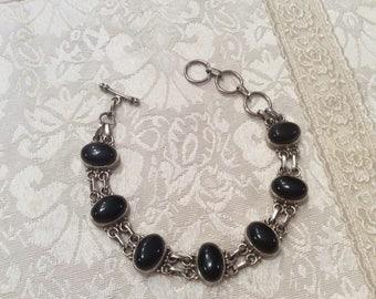 Black Onyx Sterling Silver Bracelet Vintage Signed  8 to 9 1/2 Inch Adjustable