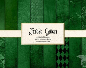 Forest Green Digital Paper, green textures, distressed textures, grunge backgrounds, printable scrapbook paper instant download