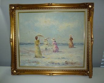 MARIE CHARLOT Original Framed Oil Painting Victorian Ladies on a Beach Signed Old Florida