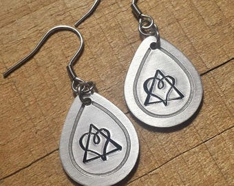 Adoption Gift - Adoption Jewelry - Adoption Earrings - Metal Stamped Earrings - Hand Stamped Jewelry - Adoption Symbol Earrings