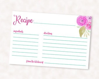 Recipe Card Printable, 4x6 recipe card, bridal shower recipe card, instant download
