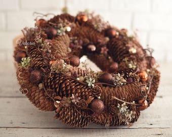 Christmas cone wreath, Front door decoration, Home Decor, Rustic Wreath, Farmhouse Wreath, Cone Wreath, Natural wreath, Winter Wreath