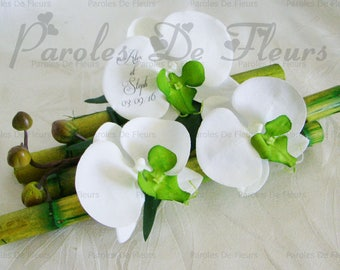 Orchids bamboo holder green artificial customize lime/white