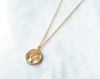 Gold Tree of Life Necklace Gold Symbol Necklace Silver Tree of Life Pendant Yoga Pendant Silver Symbol Necklace