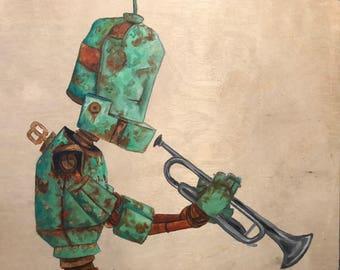 Trumpet Bot robot painting print