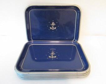 "Set of Nine Retro Vintage Metal Serving Trays, Navy Blue Silver Nautical Anchor Stars 13.75"" x 10.5"""