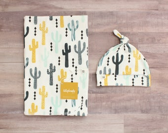 Cactus Swaddle Blanket / Aztec Swaddle Blanket / Swaddle Blanket / Receiving Blanket / Nature Swaddle Blanket / Baby Boy Gift / Cactus Baby