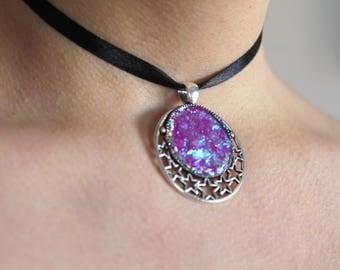 Thin choker with sparkling pendant! Fake druzy pendant, sparkling, glitter charm